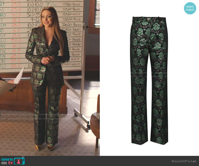 Floral-Jacquard Trousers by Paco Rabanne worn by Fallon Carrington (Elizabeth Gillies) on Dynasty