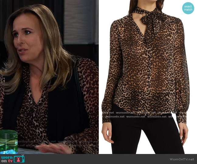 Cleobelle Leopard Print Silk Blouse by Paige worn by Laura Collins (Genie Francis) on General Hospital