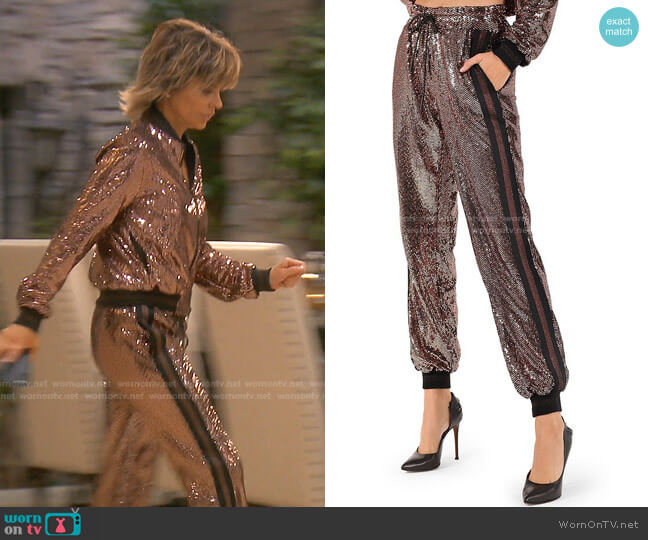 Rose Mirror Ball Jogger Pants by Pam & Gela worn by Lisa Rinna  on The Real Housewives of Beverly Hills