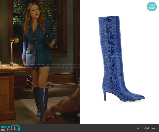 Crocodile-Effect Knee-High boots by Paris Texas worn by Fallon Carrington (Elizabeth Gillies) on Dynasty