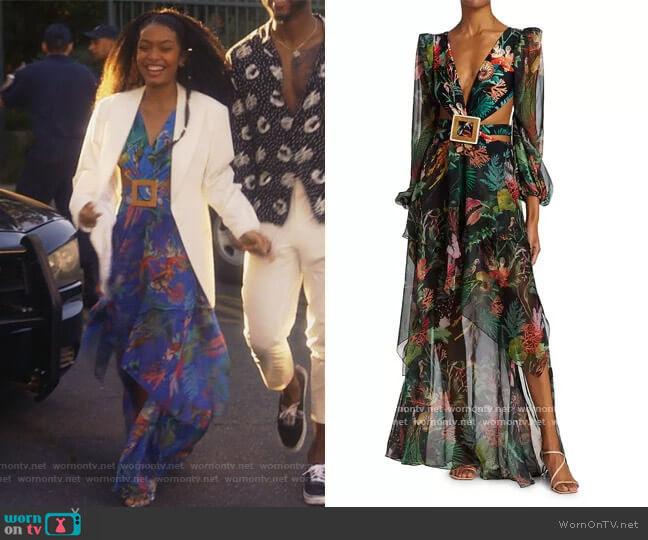 Oasis Long-Sleeve Cutout Dress by PatBO worn by Zoey Johnson (Yara Shahidi) on Grown-ish