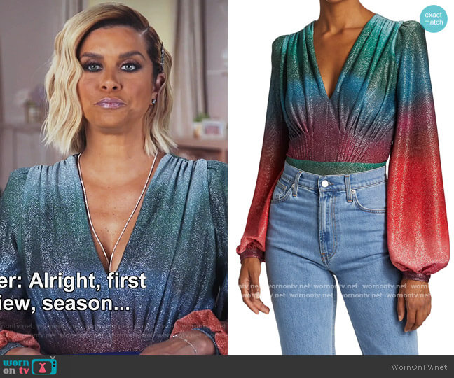Sunset Lurex Bodysuit by PatBO worn by Robyn Dixon  on The Real Housewives of Potomac