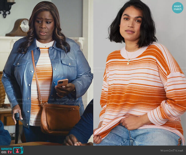 Pilcro Angie Seamed Cashmere Sweater by Anthropologie worn by Ruby Hill (Retta) on Good Girls