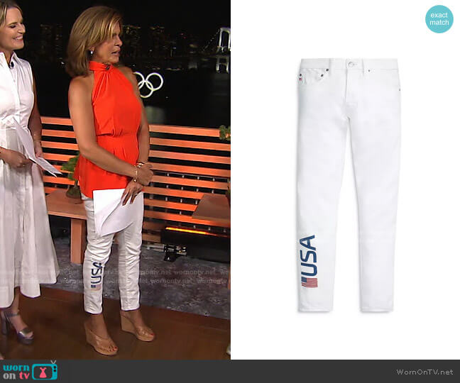 Tompkins Super-Skinny Jeans in White by Polo Ralph Lauren x Team USA worn by Hoda Kotb  on Today