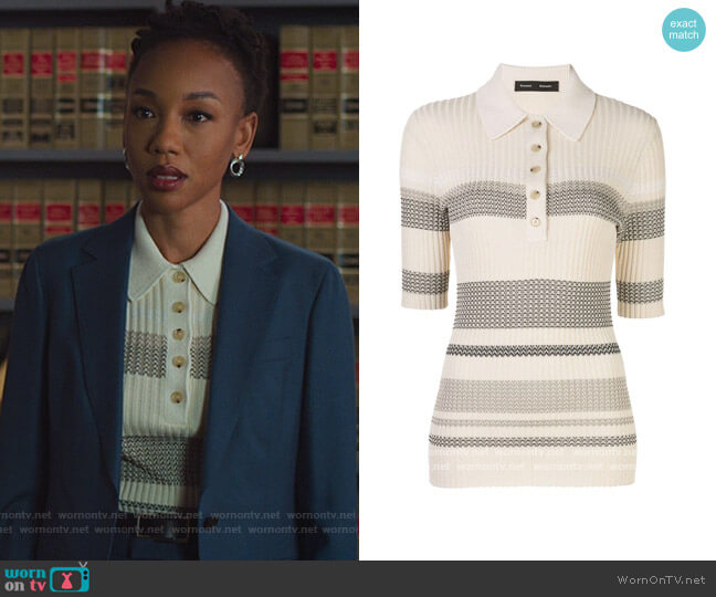Striped Knit Polo Shirt by Proenza Schouler worn by Charmaine Bingwa on The Good Fight