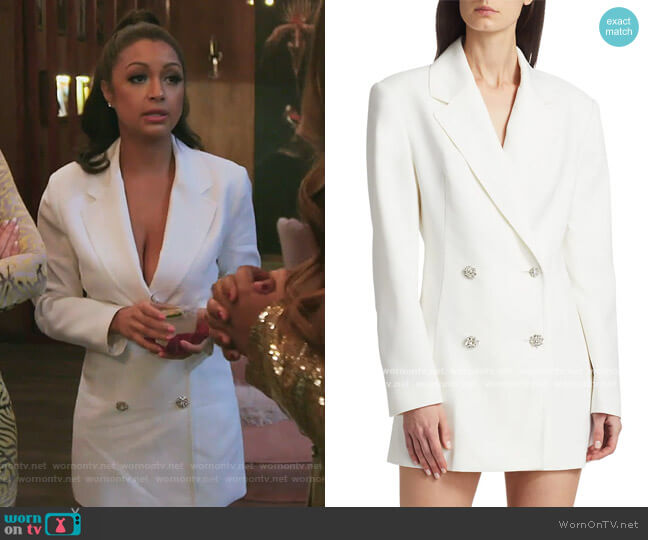 Fonda Double-Breasted Blazer Dress by ROTATE Birger Christensen worn by Eboni K. Williams (Ebony K. Williams) on The Real Housewives of New York City