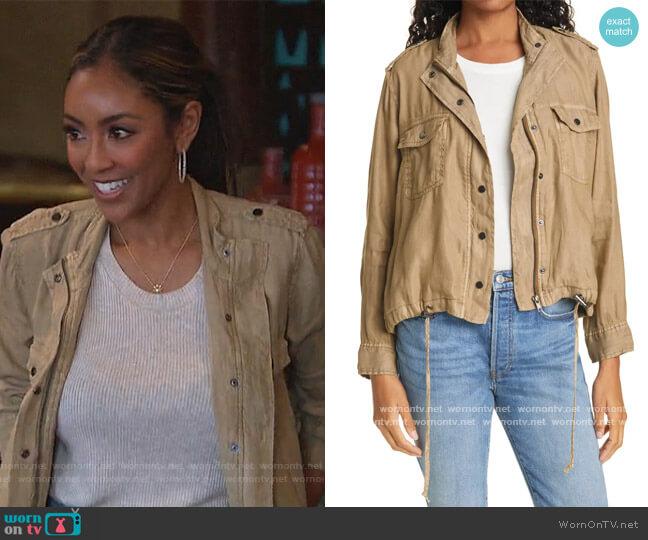ollins Linen Blend Utility Jacket by Rails worn by Tayshia Adams  on The Bachelorette