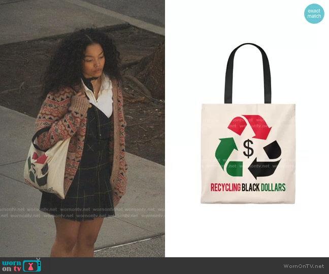 Recycling Dollars Tote Bag by Melanin worn by Zoya Lott (Whitney Peak) on Gossip Girl