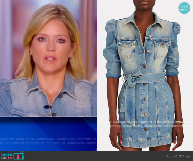 Lema Puff Sleeve Denim Dress by Retrofete worn by Sara Haines  on The View