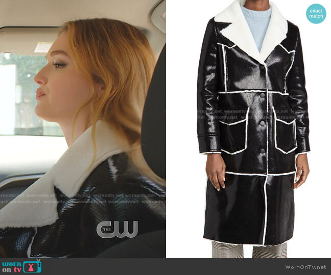 Adele Coat by Stand Studio worn by Kirby Anders (Maddison Brown) on Dynasty