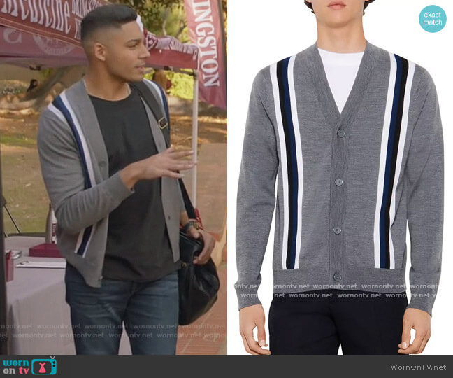 College Wool Striped Button Cardigan by Sandro worn by Michael Evans Behling on All American