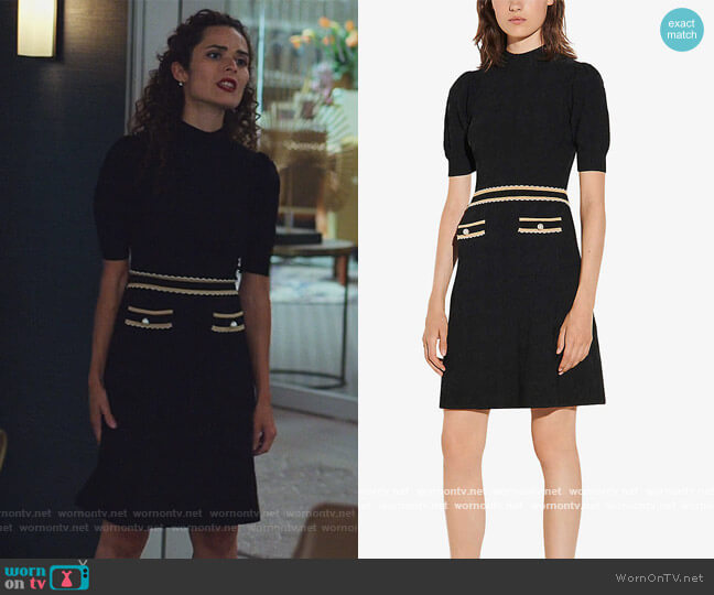 Meryle braided-trim tweed dress by Sandro worn by Stephanie Nogueras on The Good Fight