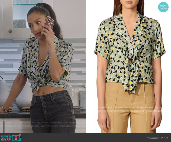 Rosa Printed Tie-Front Shirt by Sandro worn by Olivia Baker (Samantha Logan) on All American