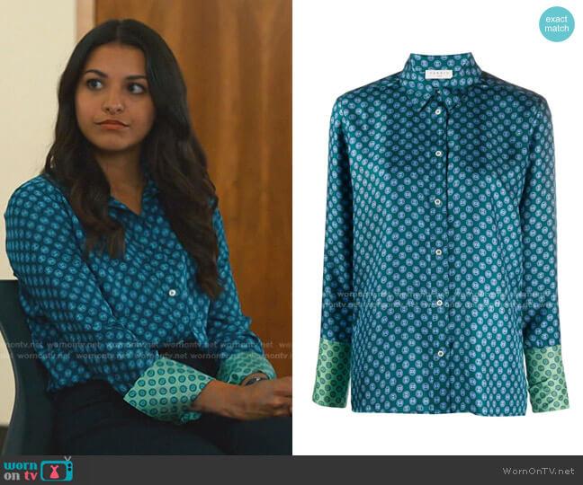Geometric Print Silk Shirt by Sandro worn by Humberly González on Nurses