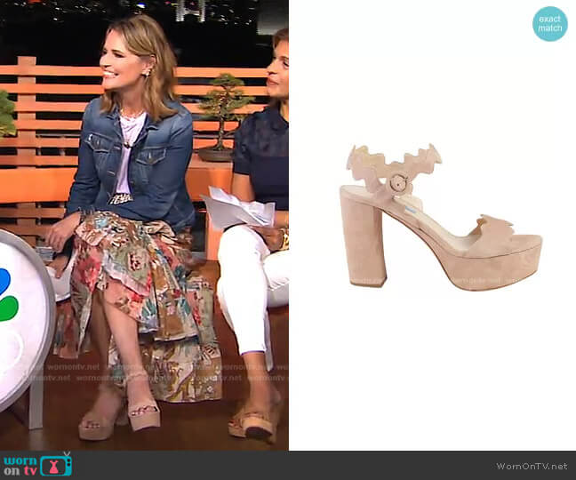 Scalloped Suede Platform Sandal by Prada  worn by Savannah Guthrie  on Today