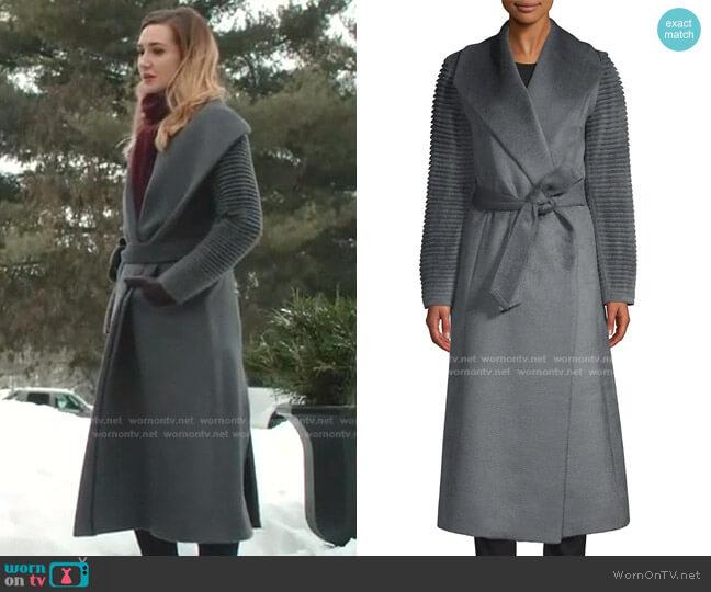 Alpaca Shawl Collar Wrap Coat by Sentaler worn by Joy Harper (Katherine Barrell) on Good Witch