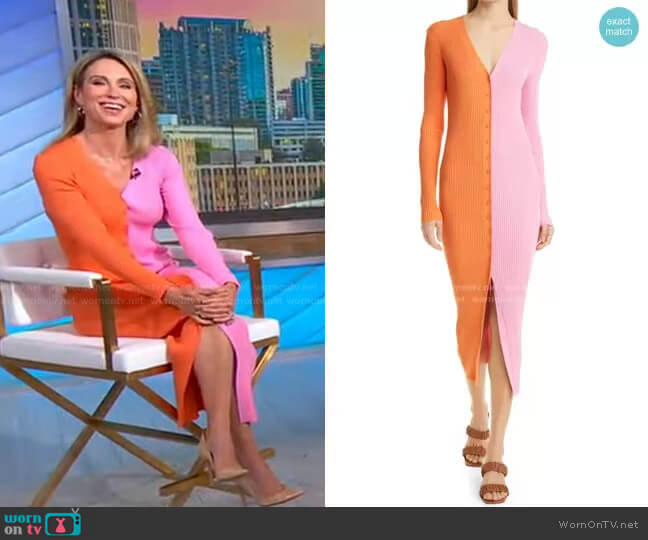 Shoko Colorblock Sweater by Staud worn by Amy Robach  on Good Morning America