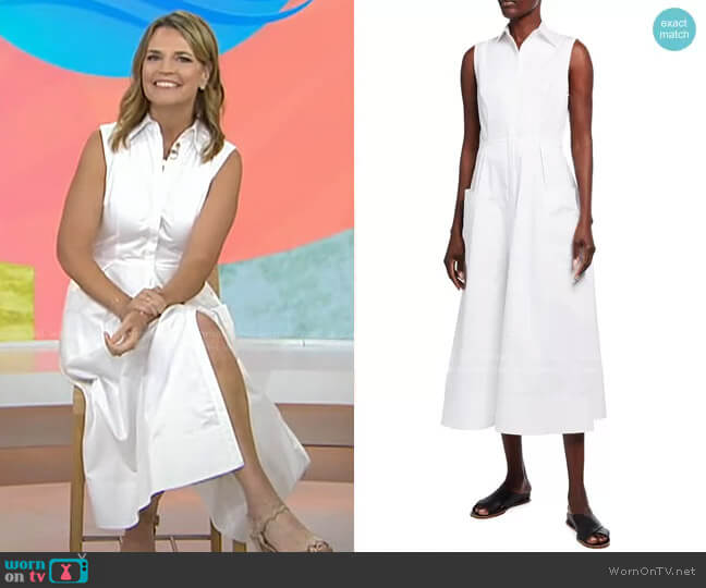 Sleeveless Maxi Shirtdress with Pockets by Co worn by Savannah Guthrie  on Today