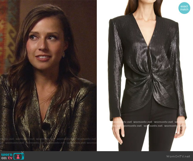 Metallic Ruched Long Sleeve Silk Blouse by Smythe worn by Katie Thurston  on The Bachelorette