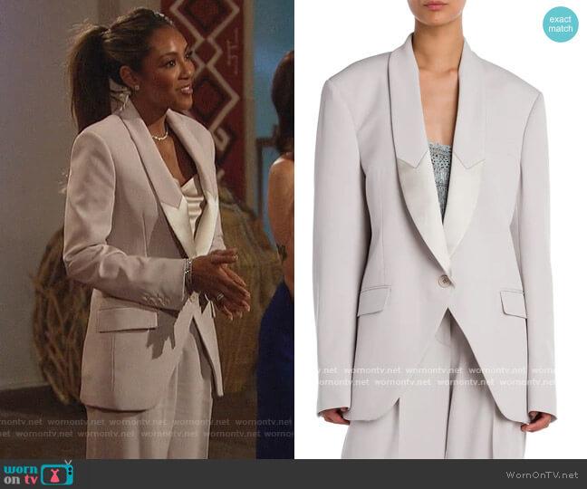 Aya Wool Twill Tailored Jacket and Pants by Stella McCartney worn by Tayshia Adams  on The Bachelorette
