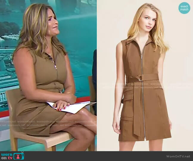 Stretch Cotton Zip Front Dress by Pearl by Lela Rose worn by Jenna Bush Hager  on Today