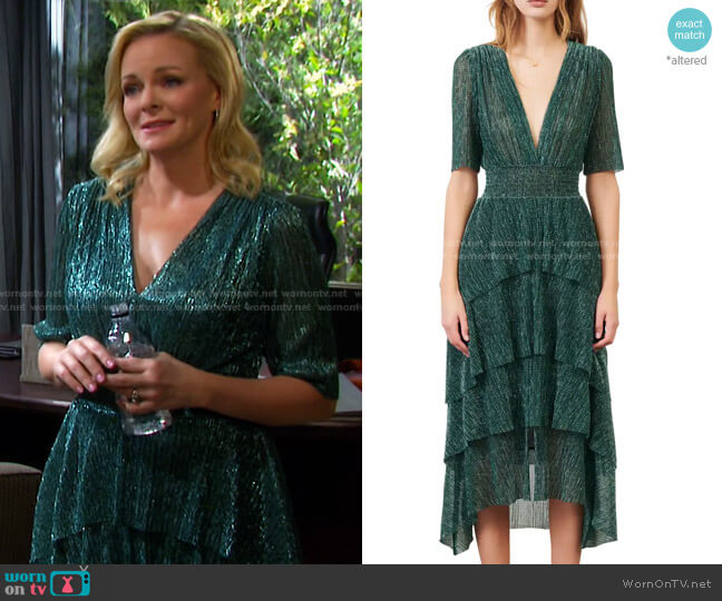 Metallic Thread Plunge Neck High/Low Dress by Maje worn by Belle Brady (Martha Madison) on Days of our Lives