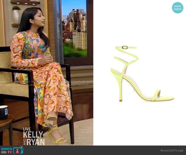 Merinda Sandals by Stuart Weitzman worn by Maitreyi Ramakrishnan on Live with Kelly and Ryan