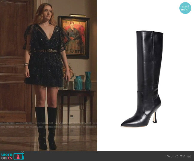 Parton Knee High Boots by Stuart Weitzman worn by Kirby Anders (Maddison Brown) on Dynasty