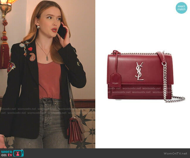 Sunset Medium Leather Shoulder Bag by Saint Laurent worn by Kirby Anders (Maddison Brown) on Dynasty