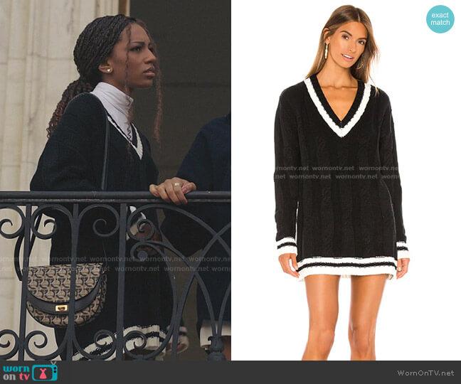 Shawnie Varsity Sweater Dress by Superdown worn by Monet de Haan (Savannah Lee Smith) on Gossip Girl