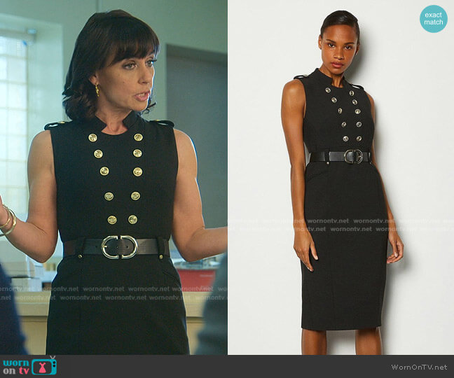 Tailored Button Military Dress by Karen Millen worn by Kathleen Gale (Constance Zimmer) on Good Trouble