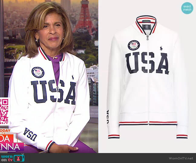 Team USA Bomber Track Jacket by Polo Ralph Lauren worn by Hoda Kotb  on Today