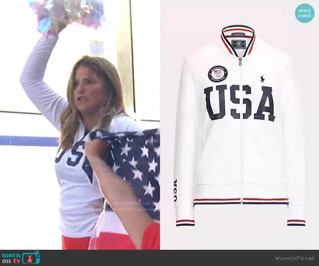 Team USA Bomber Track Jacket by Polo Ralph Lauren worn by Jenna Bush Hager  on Today