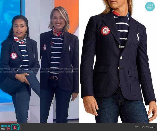 Team USA Opening Ceremony Slim Fit Blazer by Ralph Lauren x Team USA worn by Dylan Dreyer  on Today
