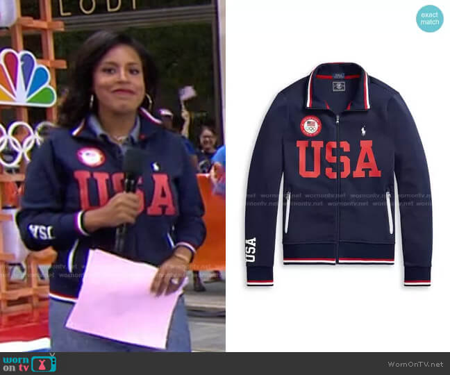 Team USA Track Jacket by Polo Ralph Lauren x Team USA worn by Sheinelle Jones  on Today