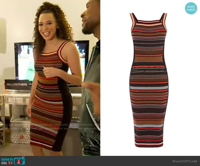 Texture Stripe Knit Dress by Karen Millen worn by Megan Ryte on GMA