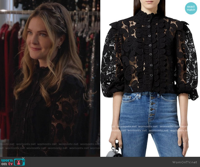 High Neck Lace Blouse by The Kooples worn by Sutton (Meghann Fahy) on The Bold Type