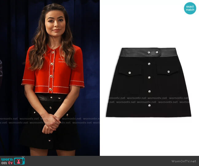 The Kooples Leather Waist Wool Skirt worn by Carly Shay (Miranda Cosgrove) on iCarly