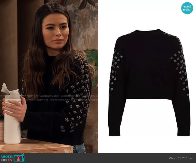 The Kooples Star Print Wool-Cashmere Sweater worn by Carly Shay (Miranda Cosgrove) on iCarly