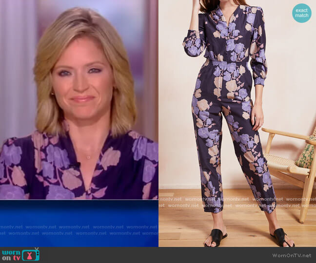 Bella Vista Cotton Silk Jumpsuit by The Westside Collection worn by Sara Haines  on The View