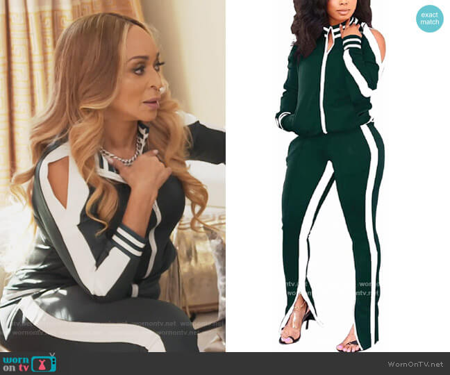 Two Piece Cold Shoulder Bodycon Jacket and Pants by Thusfar worn by Karen Huger  on The Real Housewives of Potomac