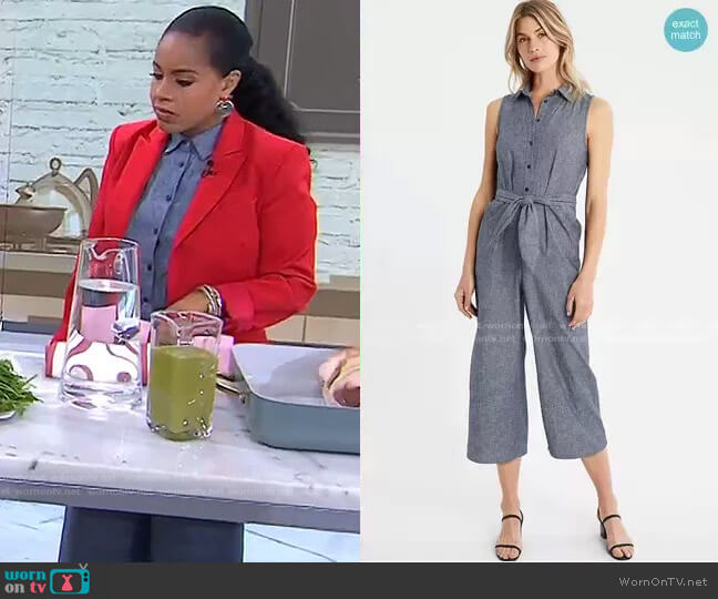 Tie-Front Linen Blend Jumpsuit by Banana Republic worn by Sheinelle Jones  on Today