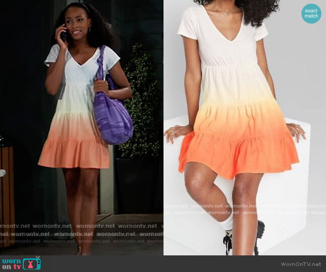 Tiered Knit Babydoll Dress in Orange Dip Dye by Wild Fable at Target worn by Trina (Sydney Mikayla) on General Hospital