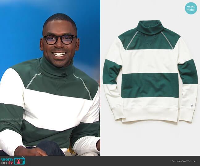 Bold Stripe Turtleneck by Todd Snyder worn by Justin Sylvester  on E! News