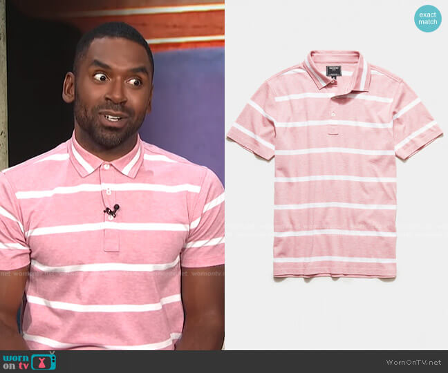 Fine Pique Stripe Polo by Todd Snyder worn by Justin Sylvester  on E! News