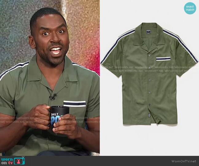 Japanese Shoulder Stripe Rayon Shirt by Todd Snyder worn by Justin Sylvester  on E! News