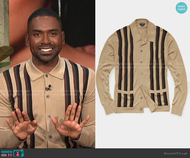 Striped Button Down Sweater Polo by Todd Snyder worn by Justin Sylvester  on E! News