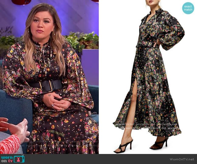 Floral Print Maxi Dress by Topshop worn by Kelly Clarkson  on The Kelly Clarkson Show