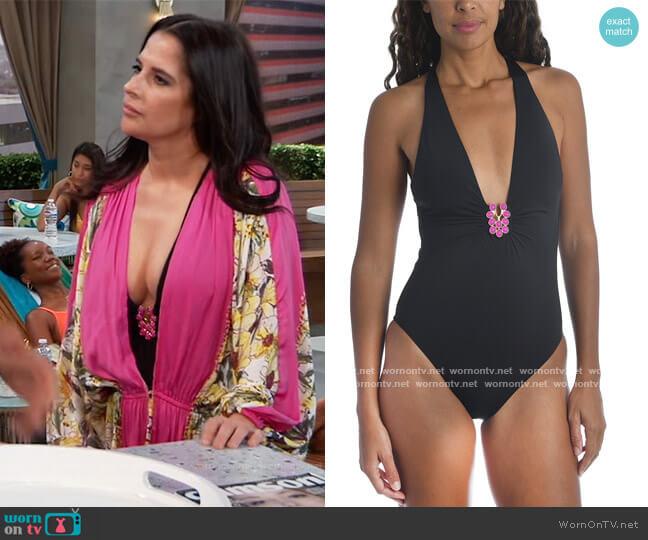 Bijou Solid Plunge One-Piece Swimsuit by Trina Turk worn by Sam McCall (Kelly Monaco) on General Hospital