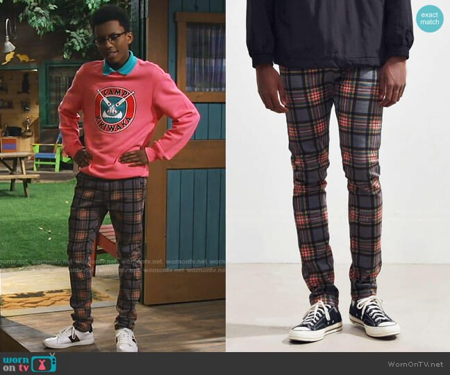 Tartan Skinny Pants by Urban Outfitters worn by Noah Lambert (Israel Johnson) on Bunkd